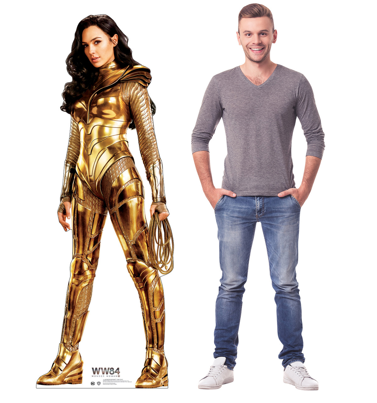 Wonder Woman 1984 Gold cardboard standee with model.