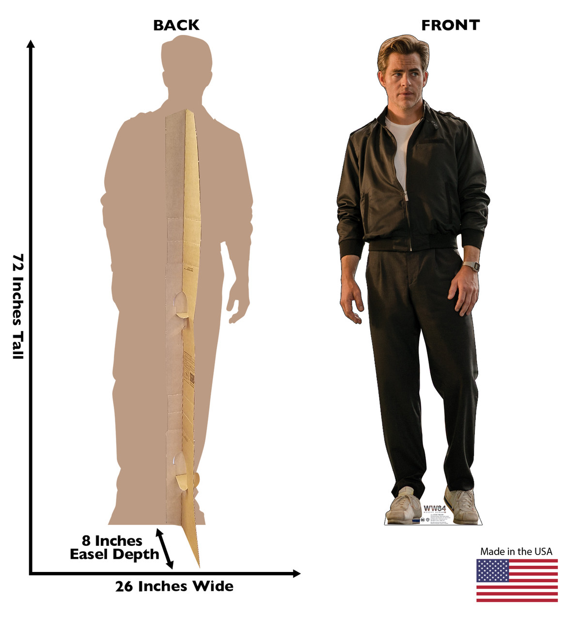 Steve Trevor cardboard standee from the movie Wonder Woman 1984 with front and back dimensions.