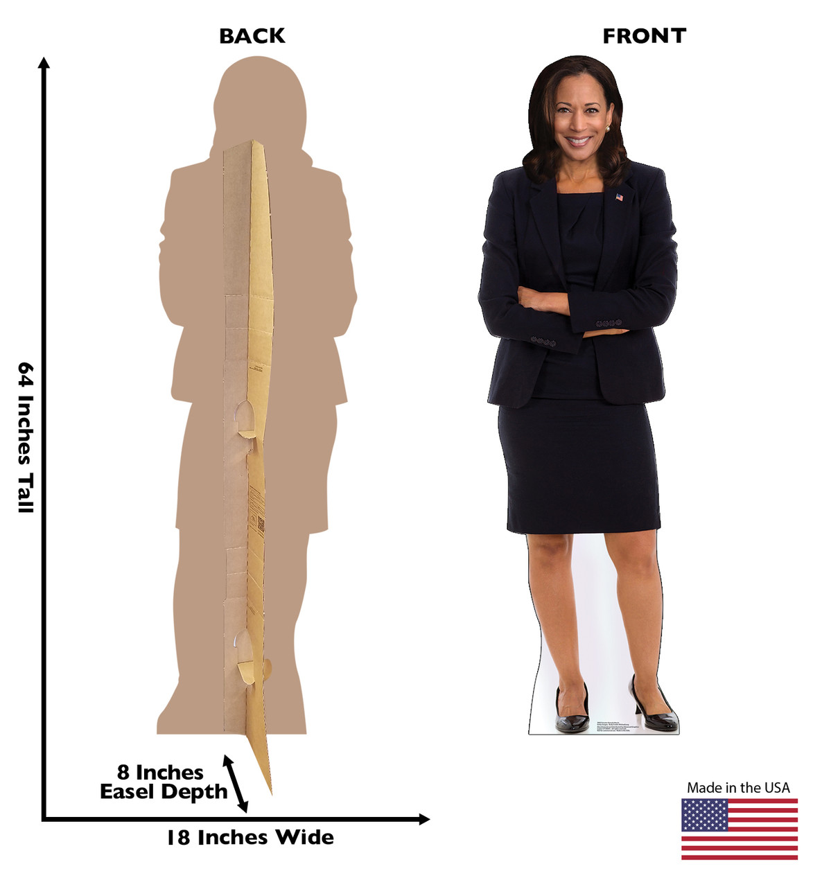 Vice President Kamala Harris Cardboard Cutout with Front and Back Dimensions.