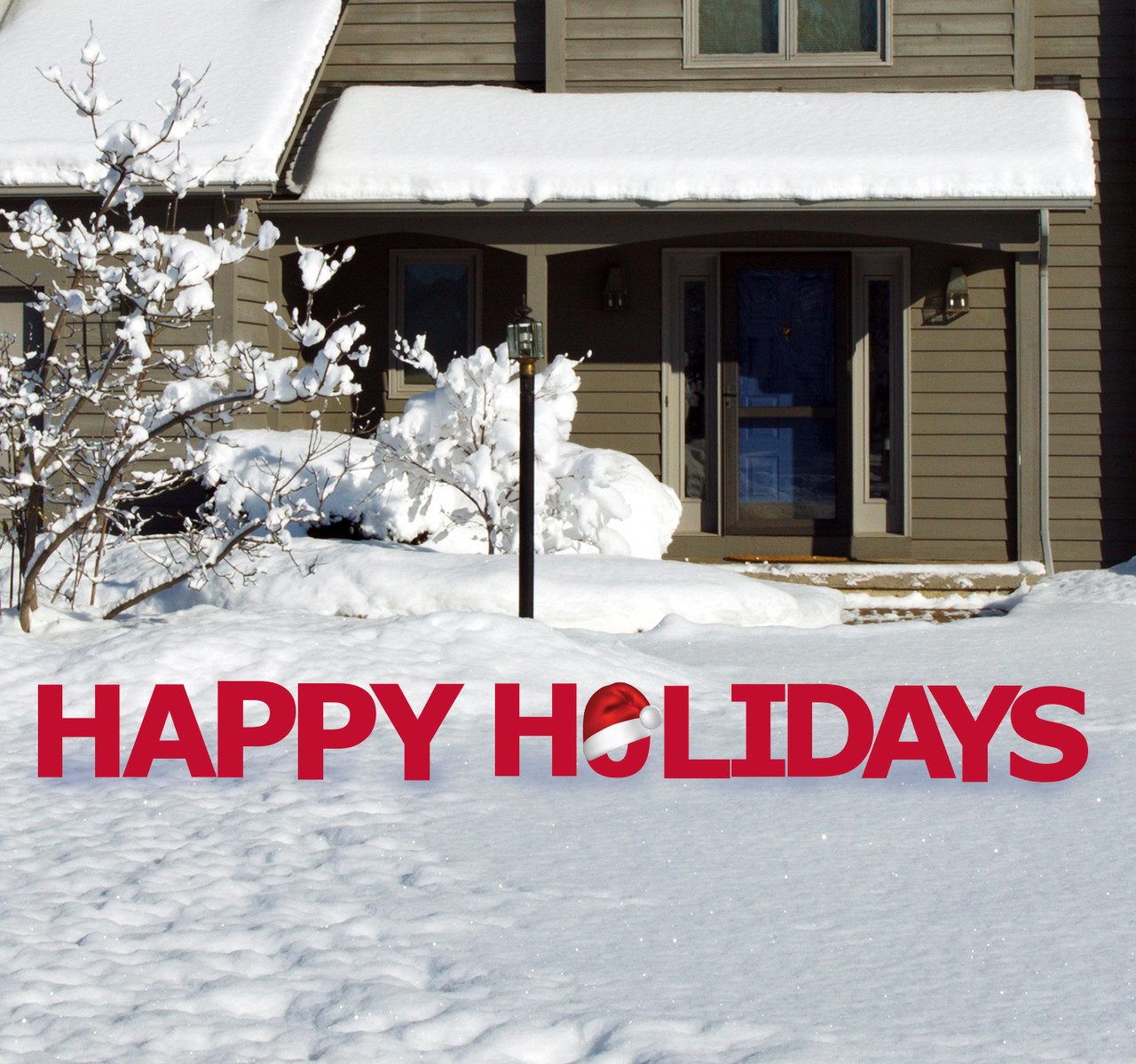 Coroplast outdoor Happy Holidays Yard Sign Set.