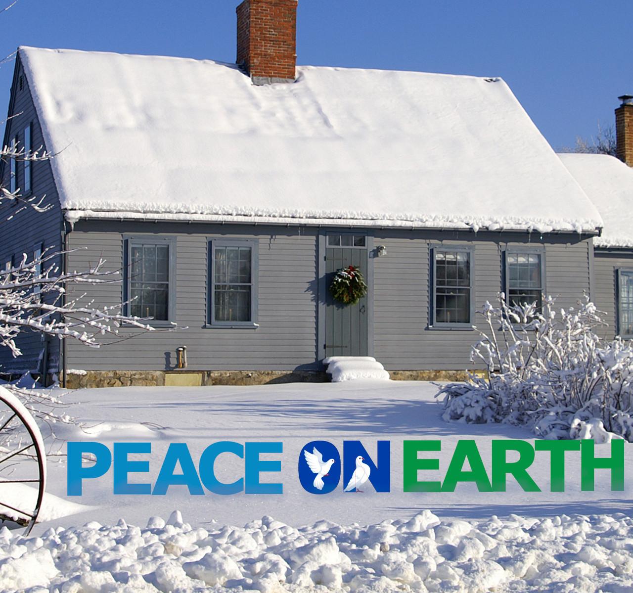Coroplast outdoor Peace on Earth Yard Sign Set.