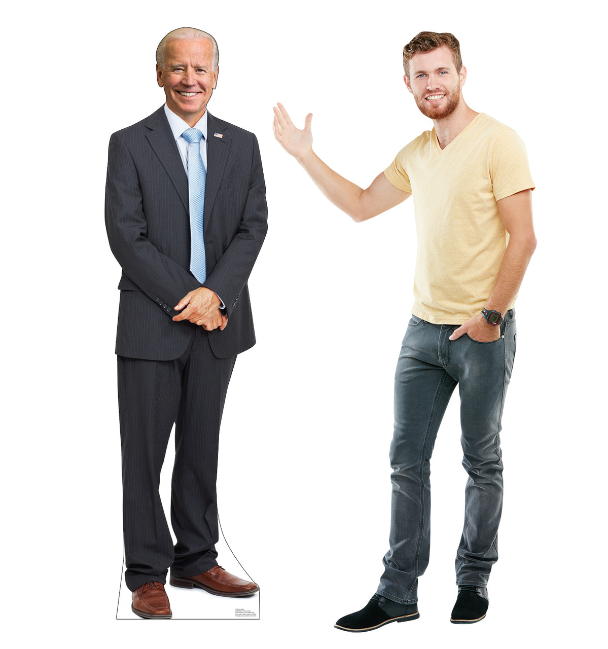 Life-size standee of President Joe Biden with model.