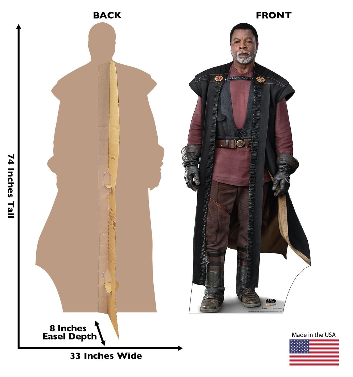 Life-size cardboard standee of Magistrate Greef Karga with back and front dimensions.