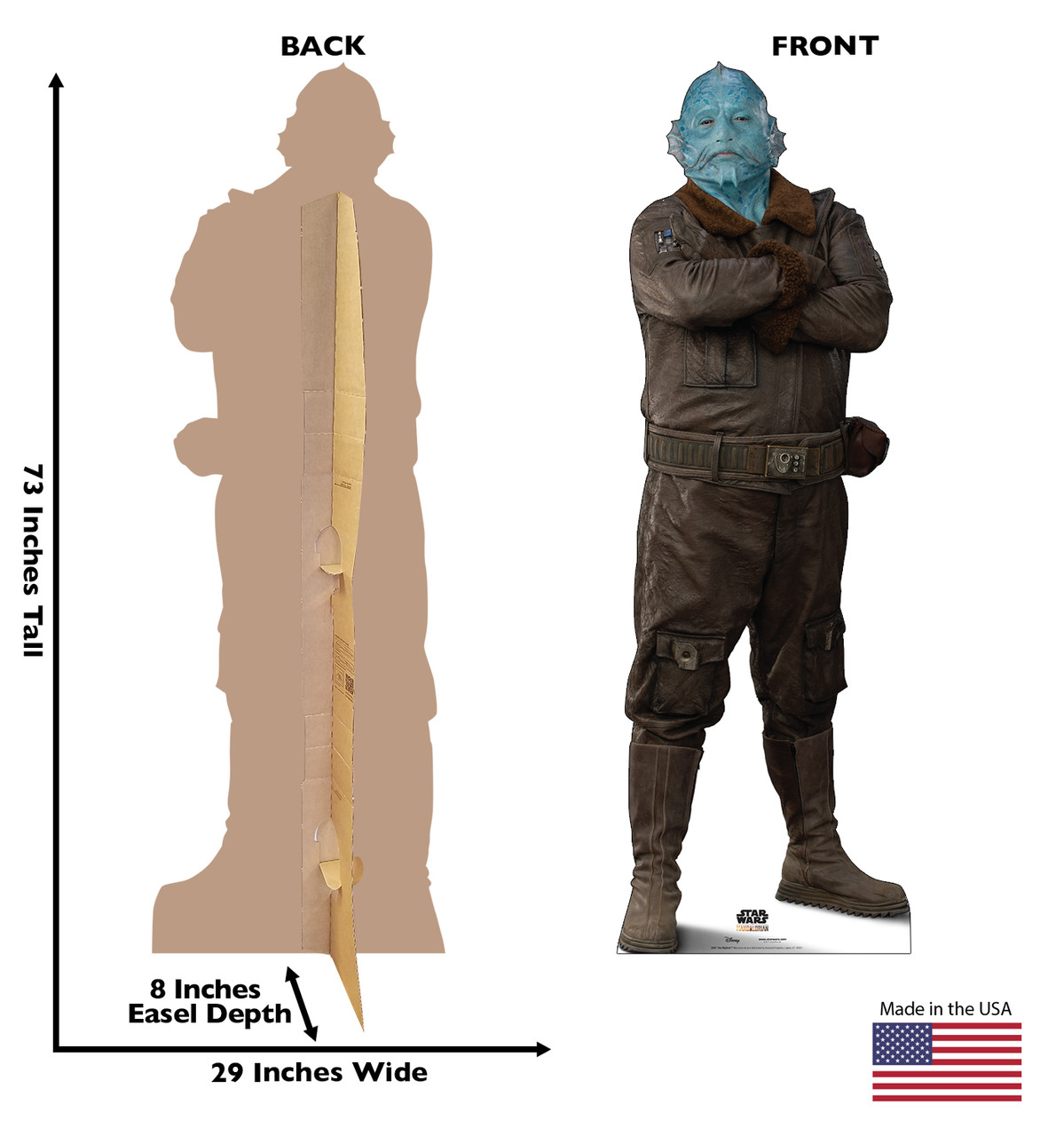 Life-size cardboard standee of The Mythrol with back and front dimensions.