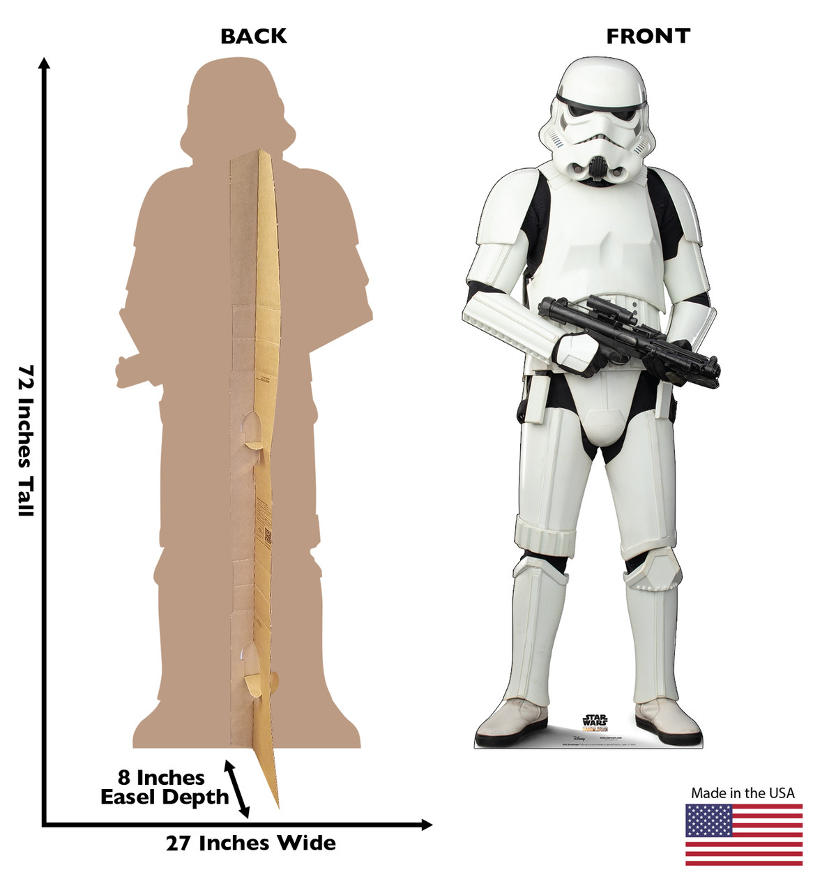 Life-size cardboard standee of a Stormtrooper with back and front dimensions.