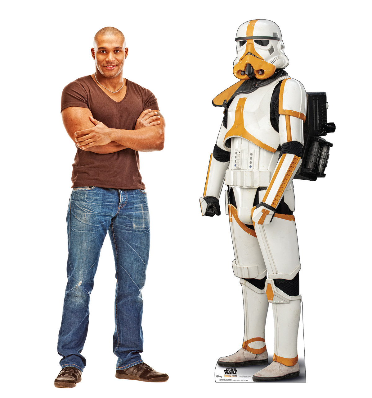 Life-size cardboard standee of a Mortar Stormtrooper with model.