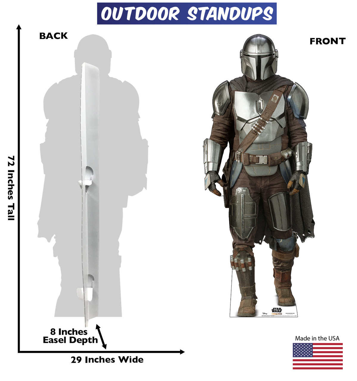 Life-size cardboard standee of The Mandalorian Outdoor with back and front dimensions.