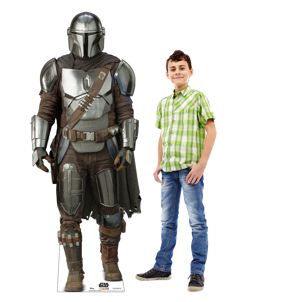 Life-size cardboard standee of The Mandalorian Outdoor with model.