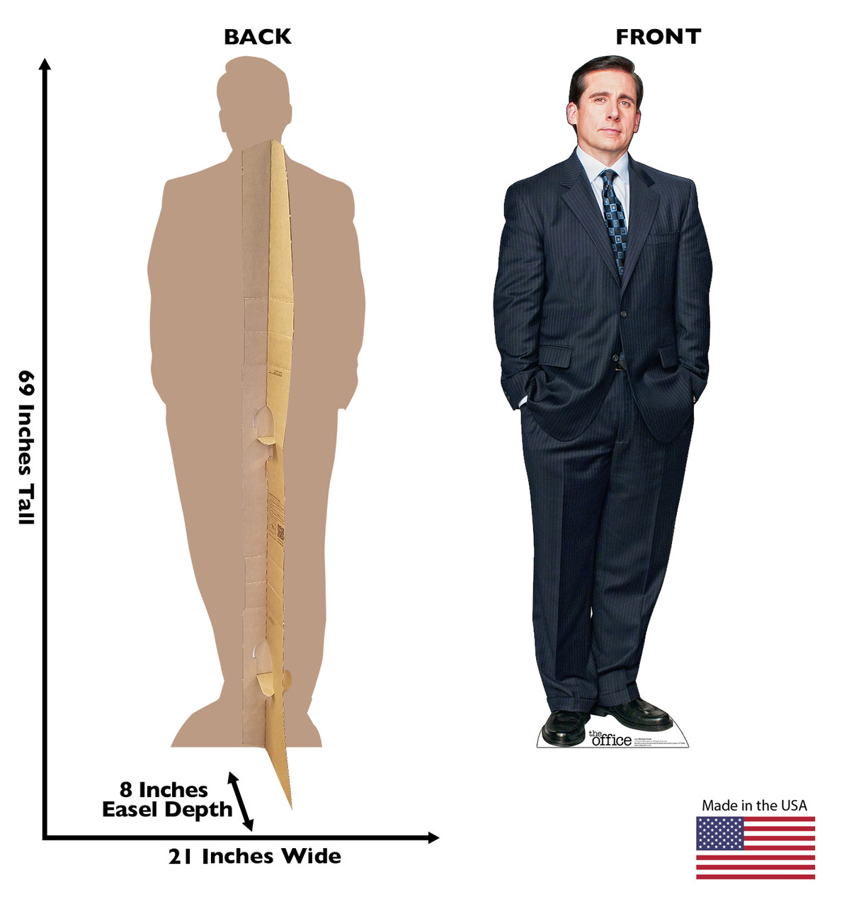 Life-size cardboard standee of Michael Scott from the Office TV show with front and back dimension.