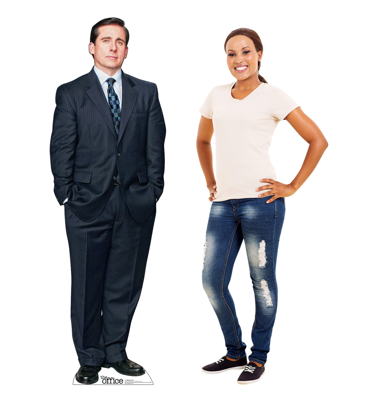 Life-size cardboard standee of Michael Scott from the Office TV show with model.