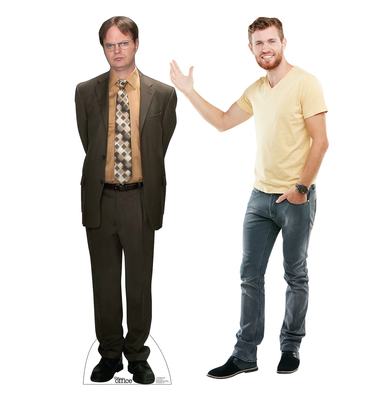 Life-size cardboard standee of Dwight Schrute from the Office TV show with model.