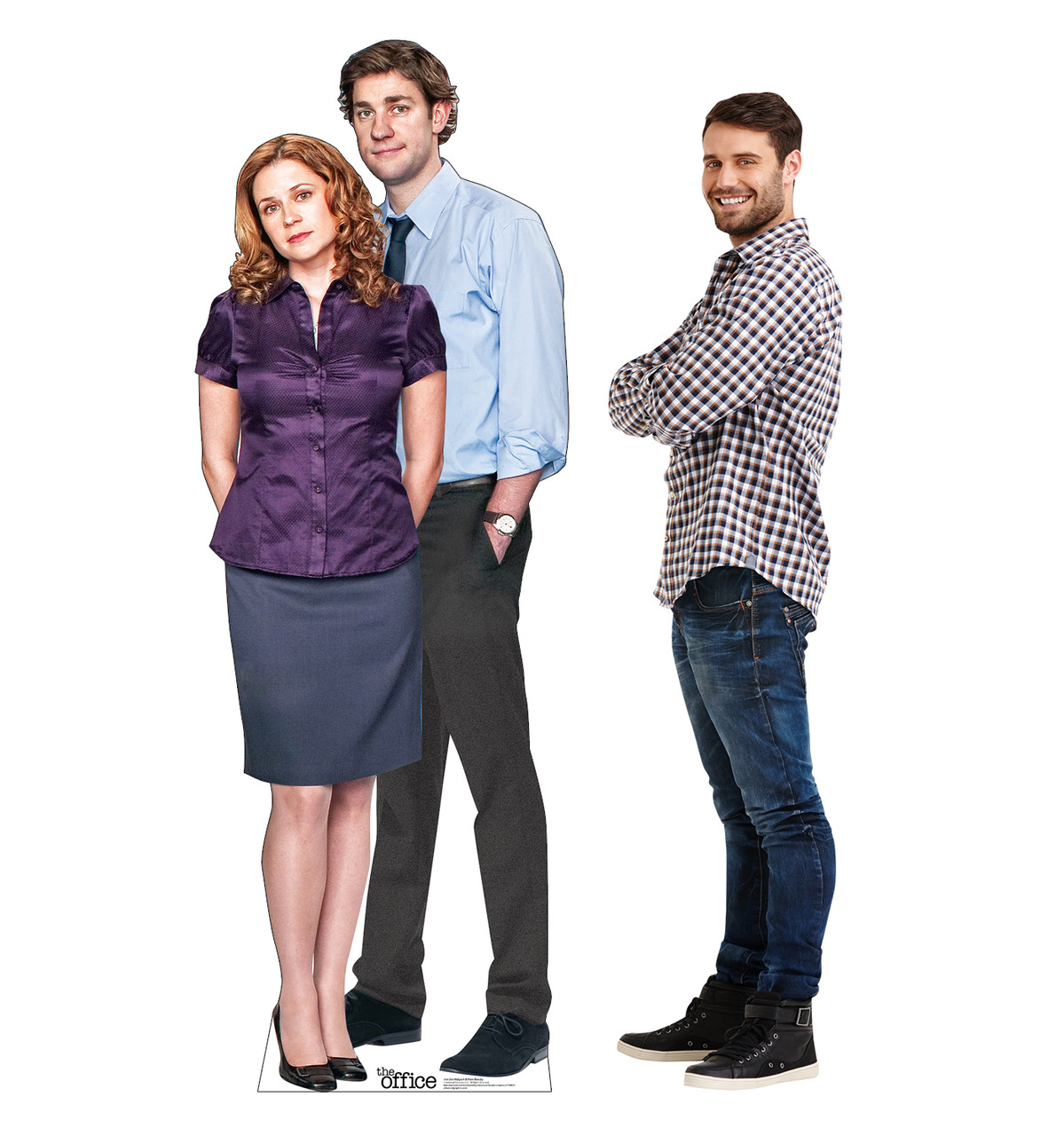 Life-size cardboard standee of Jim Halpert & Pam Beesly from the Office TV show with model.