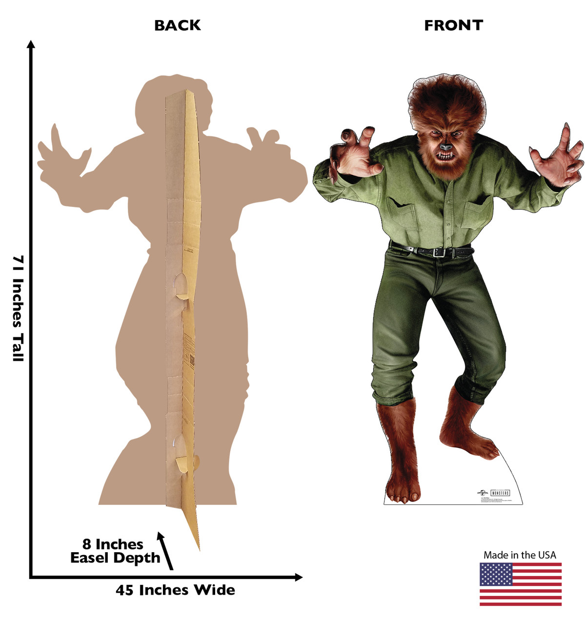 Life-size cardboard standee of Wolf Man from Universals Monsters Collection with front and back dimensions.