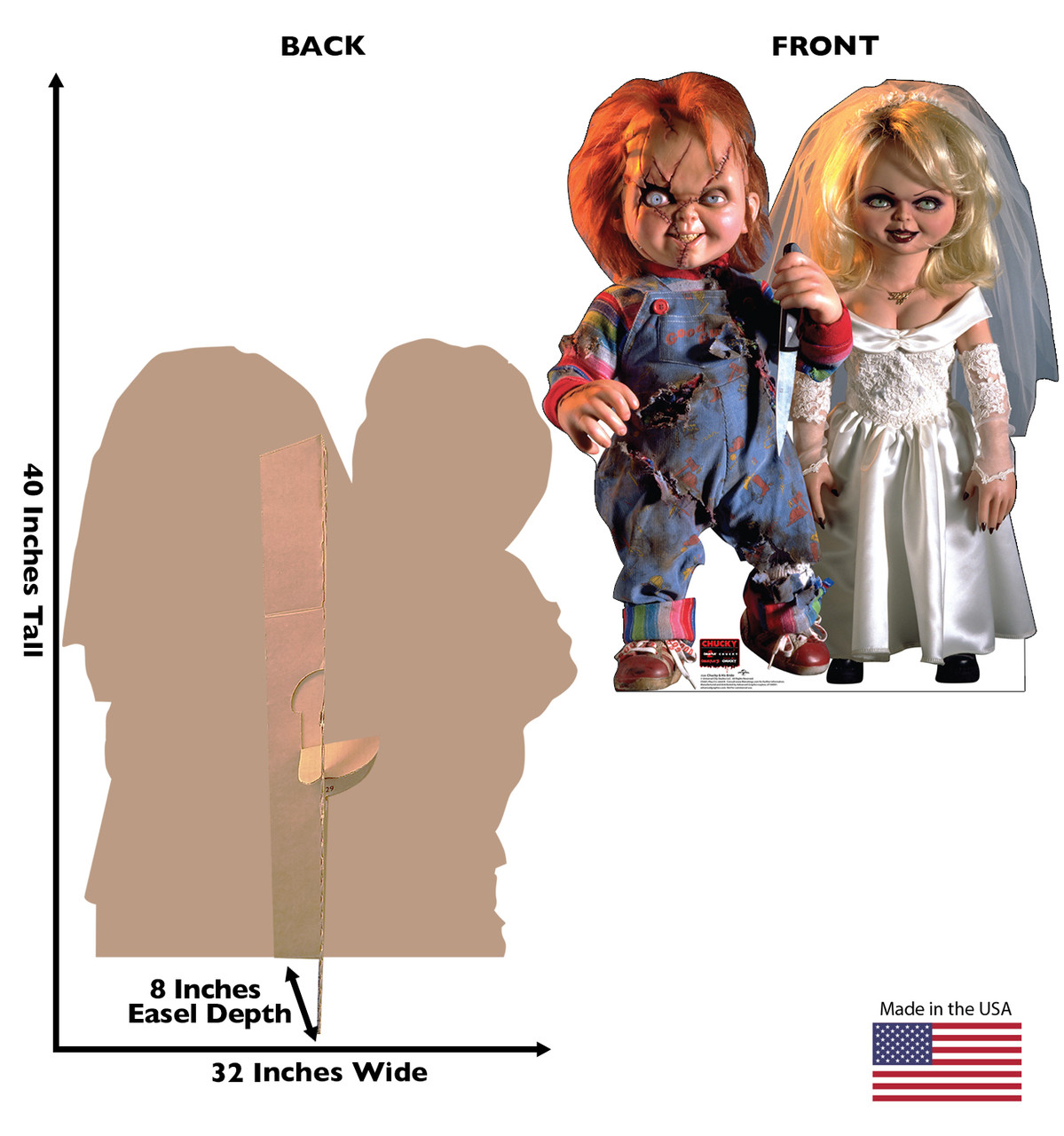 Life-size cardboard standee of Chucky and His Bride with back and front dimensions.