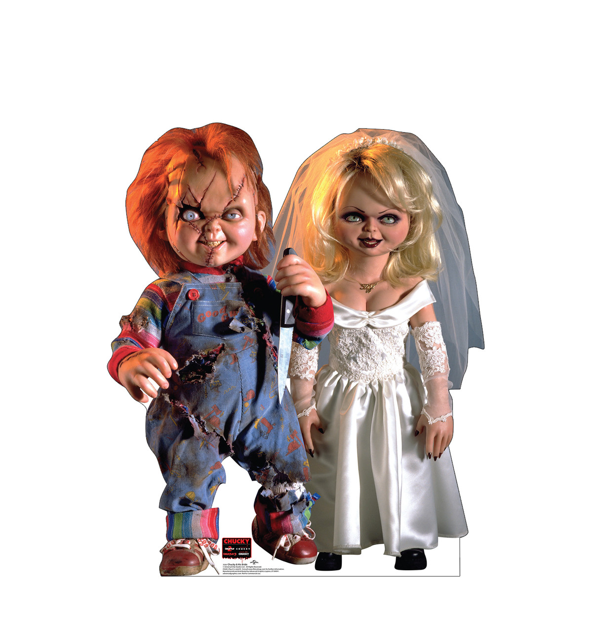 Life-size cardboard standee of Chucky and His Bride.