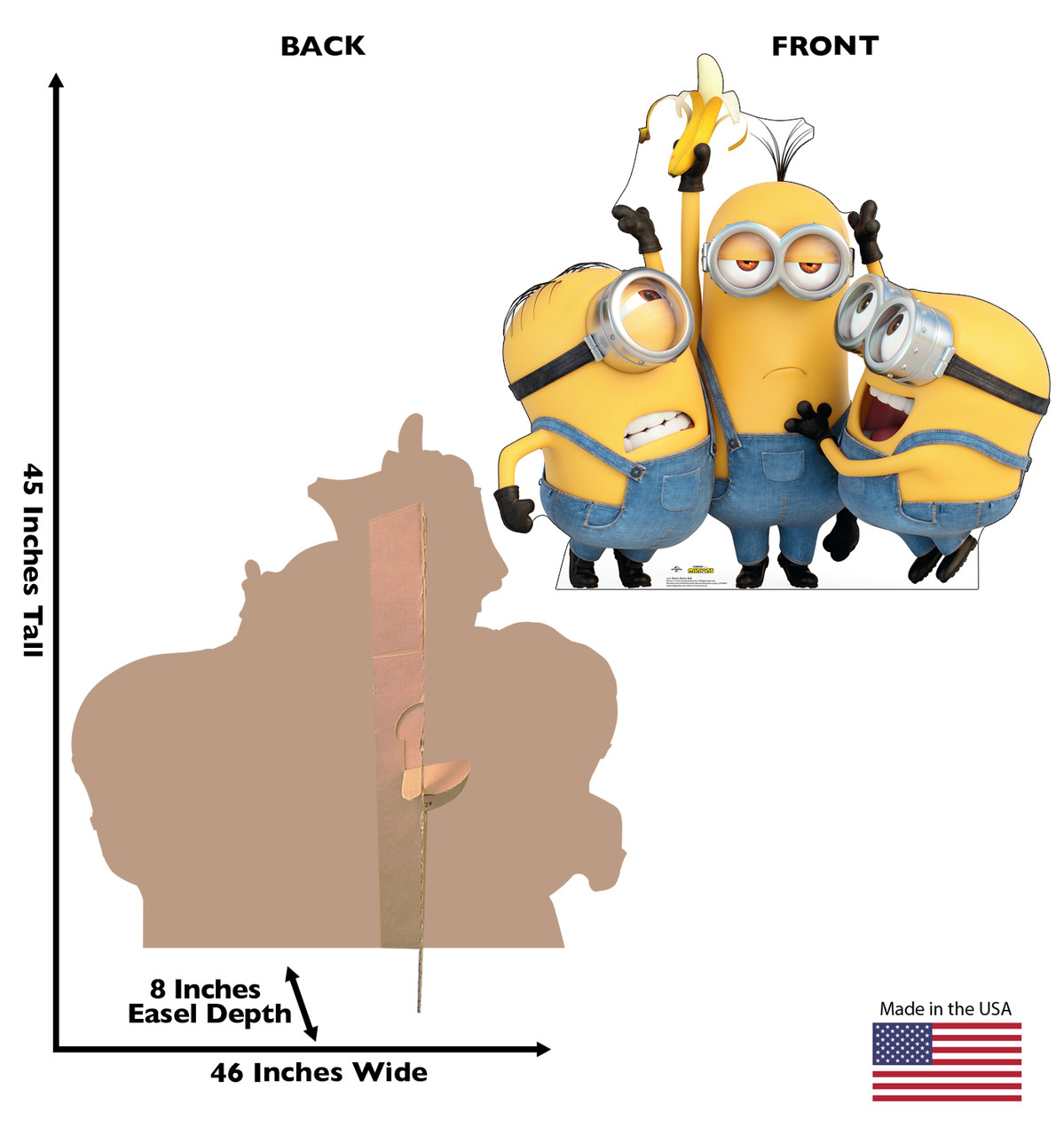 Life-size cardboard standee of Stuart, Kevin & Bob from The Minions with back and front dimensions.