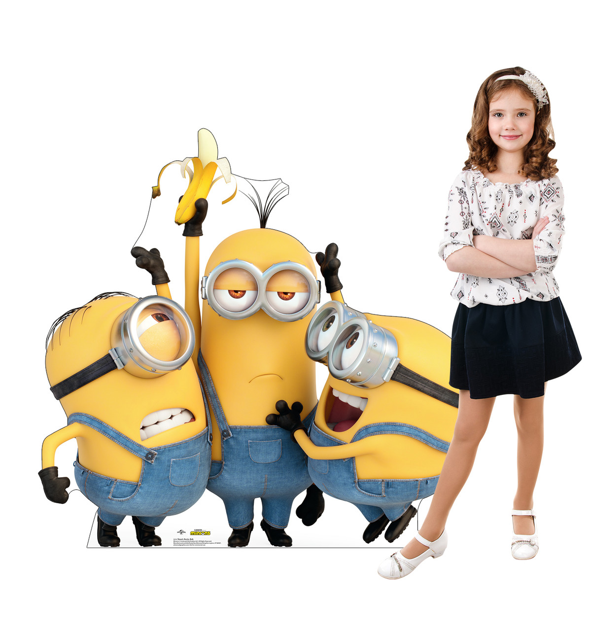Life-size cardboard standee of Stuart, Kevin & Bob from The Minions with model.