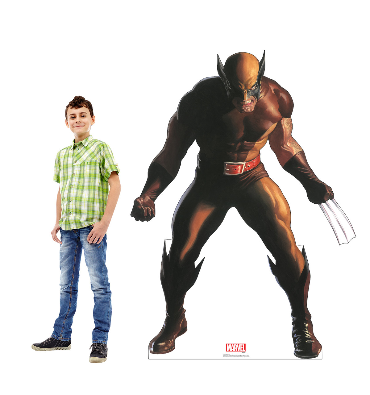 Life-size cardboard standee of Wolverine from Marvels Timeless Collection with model.