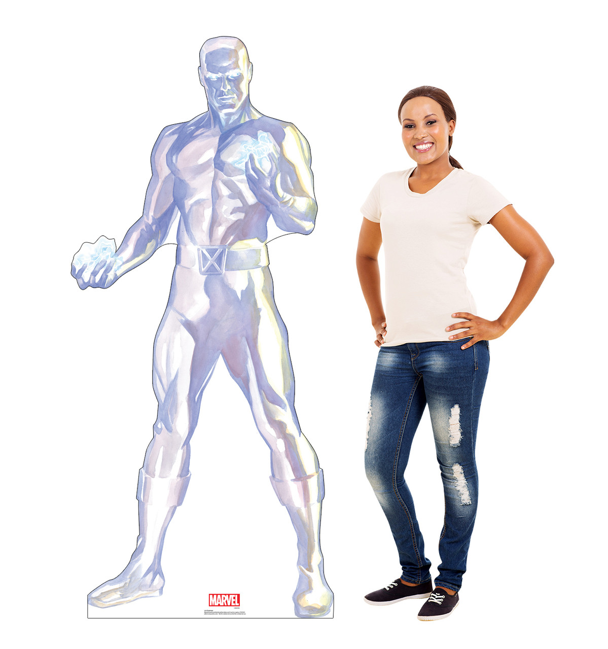 Life-size cardboard standee of Iceman from Marvels Timeless Collection with model.