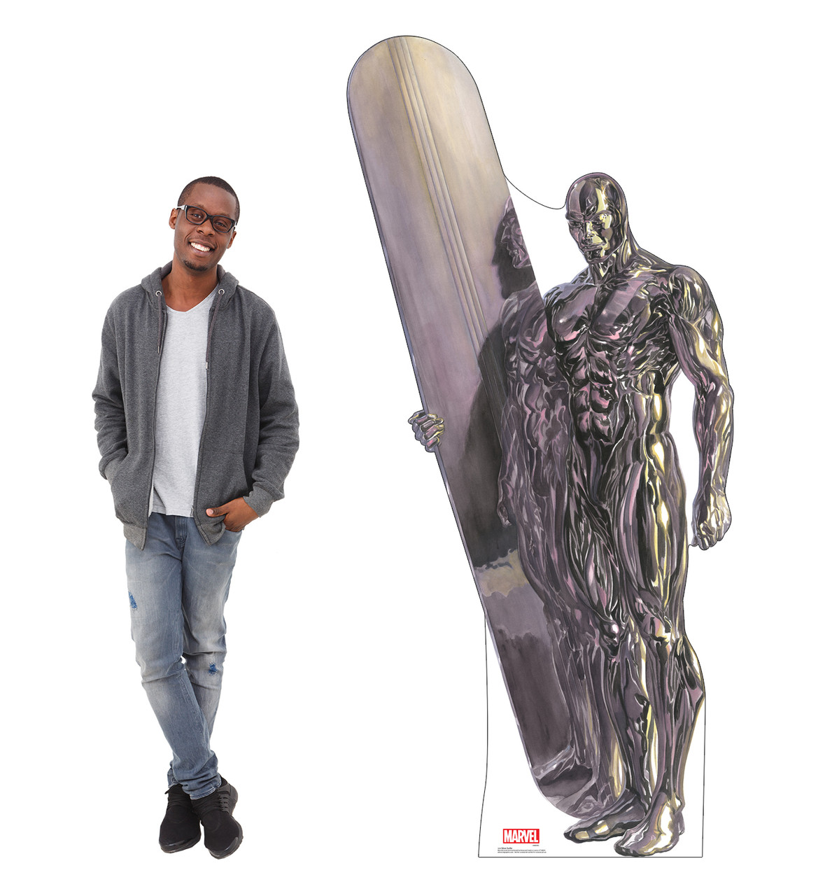 Life-size cardboard standee of Silver Surfer from Marvels Timeless Collection with model.