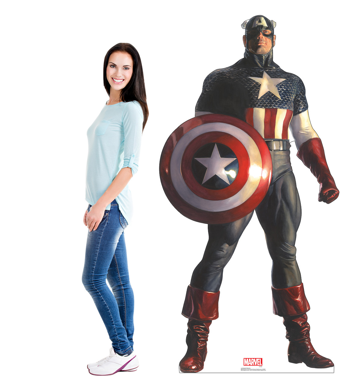 Life-size cardboard standee of Captain America from Marvels Timeless Collection with model.