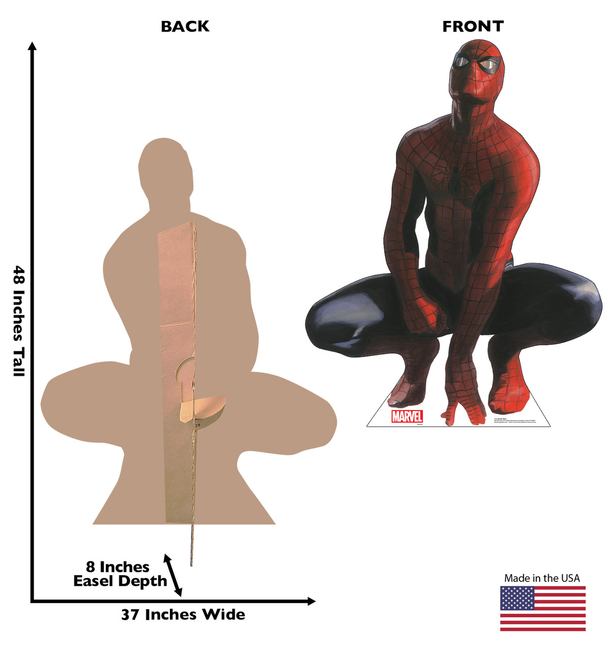 Life-size cardboard standee of Spider-Man from Marvels Timeless Collection with back and front dimensions.