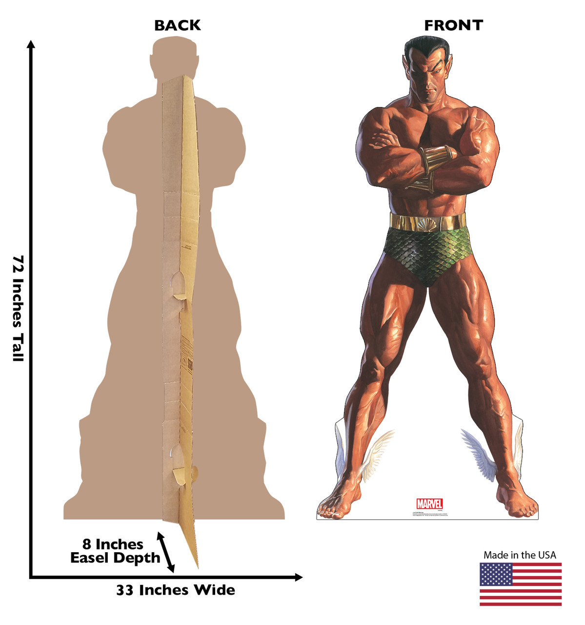 Life-size cardboard standee of Sub-Mariner from Marvels Timeless Collection with back and front dimensions.