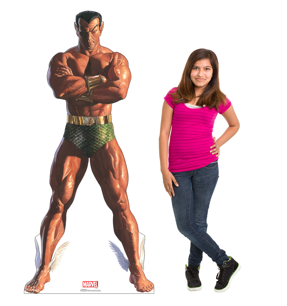 Life-size cardboard standee of Sub-Mariner from Marvels Timeless Collection with model.