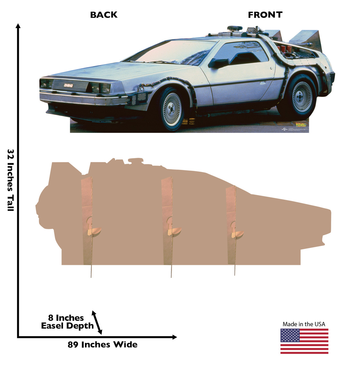 Life-size cardboard  standee of the DeLorean from Back to the Future movie with front and back dimensions.