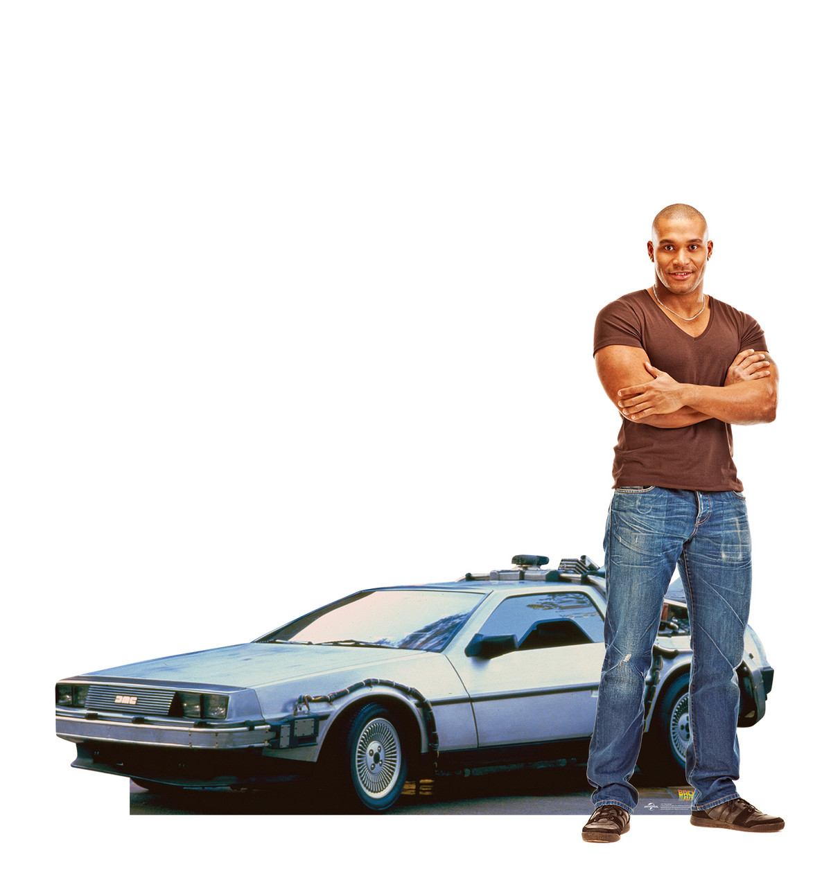 Life-size cardboard  standee of the DeLorean from Back to the Future movie with model.