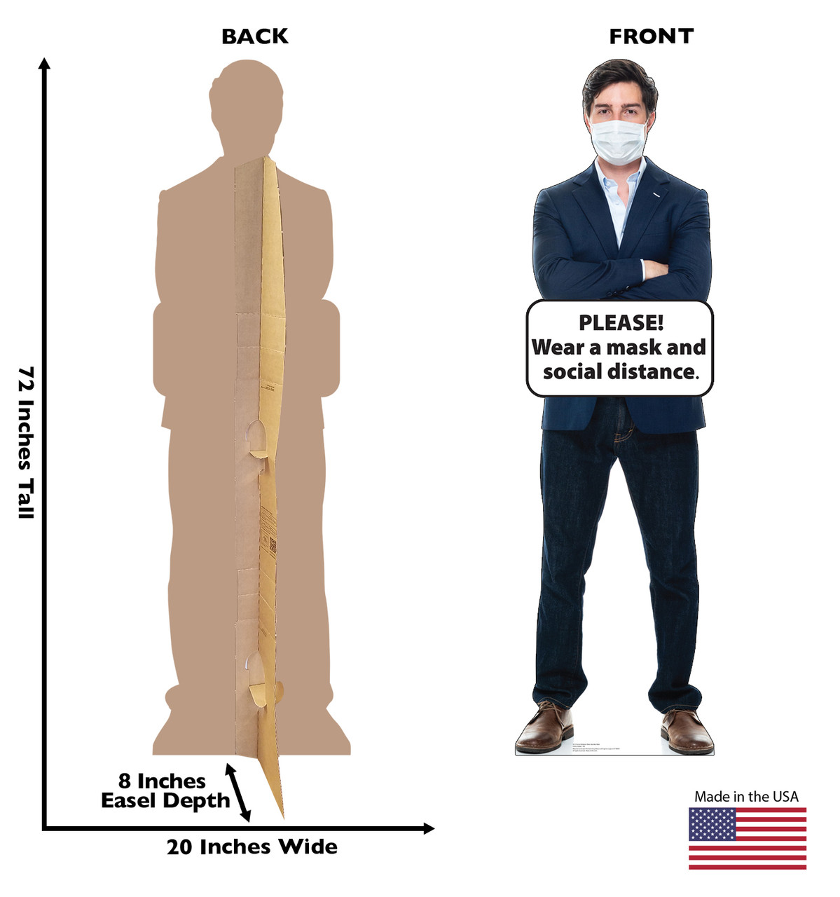 Life-size cardboard standee of Social Distance Mask Standee Male with back and front dimensions.