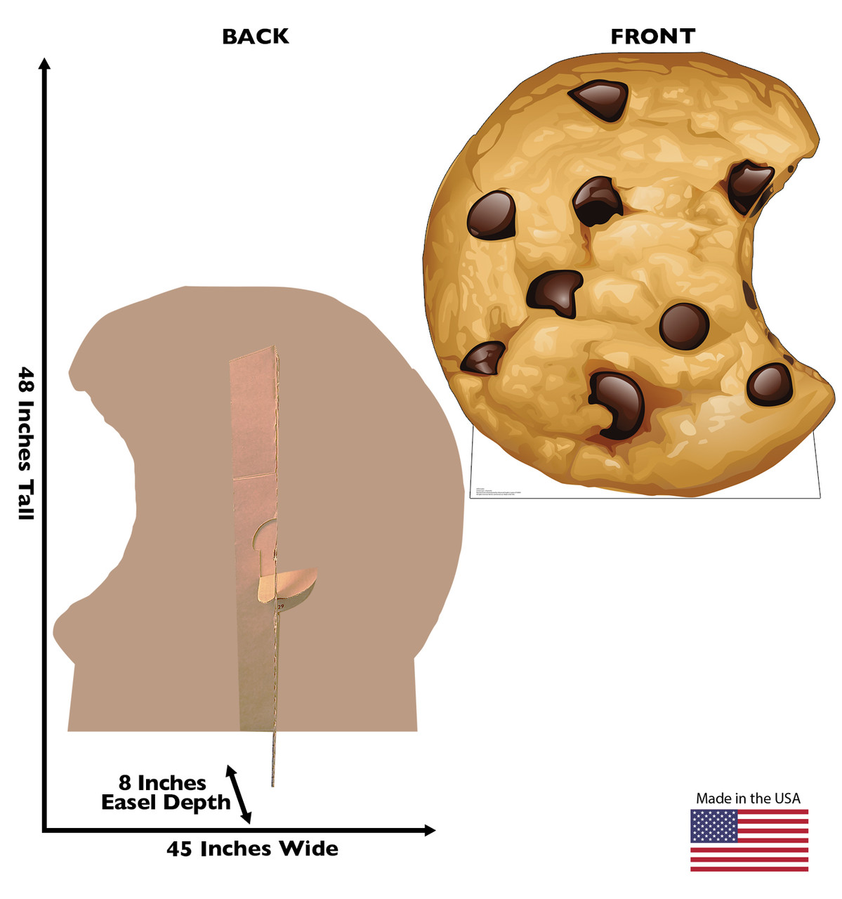 Life-size cardboard standee of a Chocolate Chip Cookie with back and front dimensions.