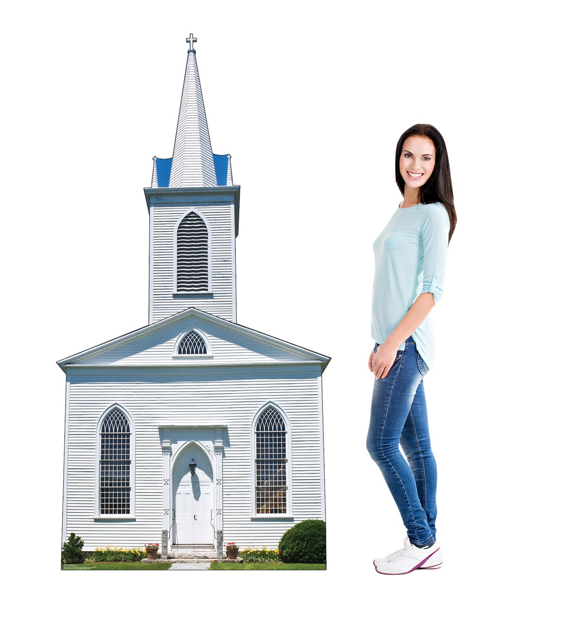 Life-size cardboard standee of Church with Steeple with model.