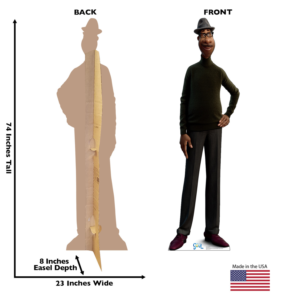Life-size cardboard standee of Joe Gardner from Disney's Movie Soul with back and front dimensions.