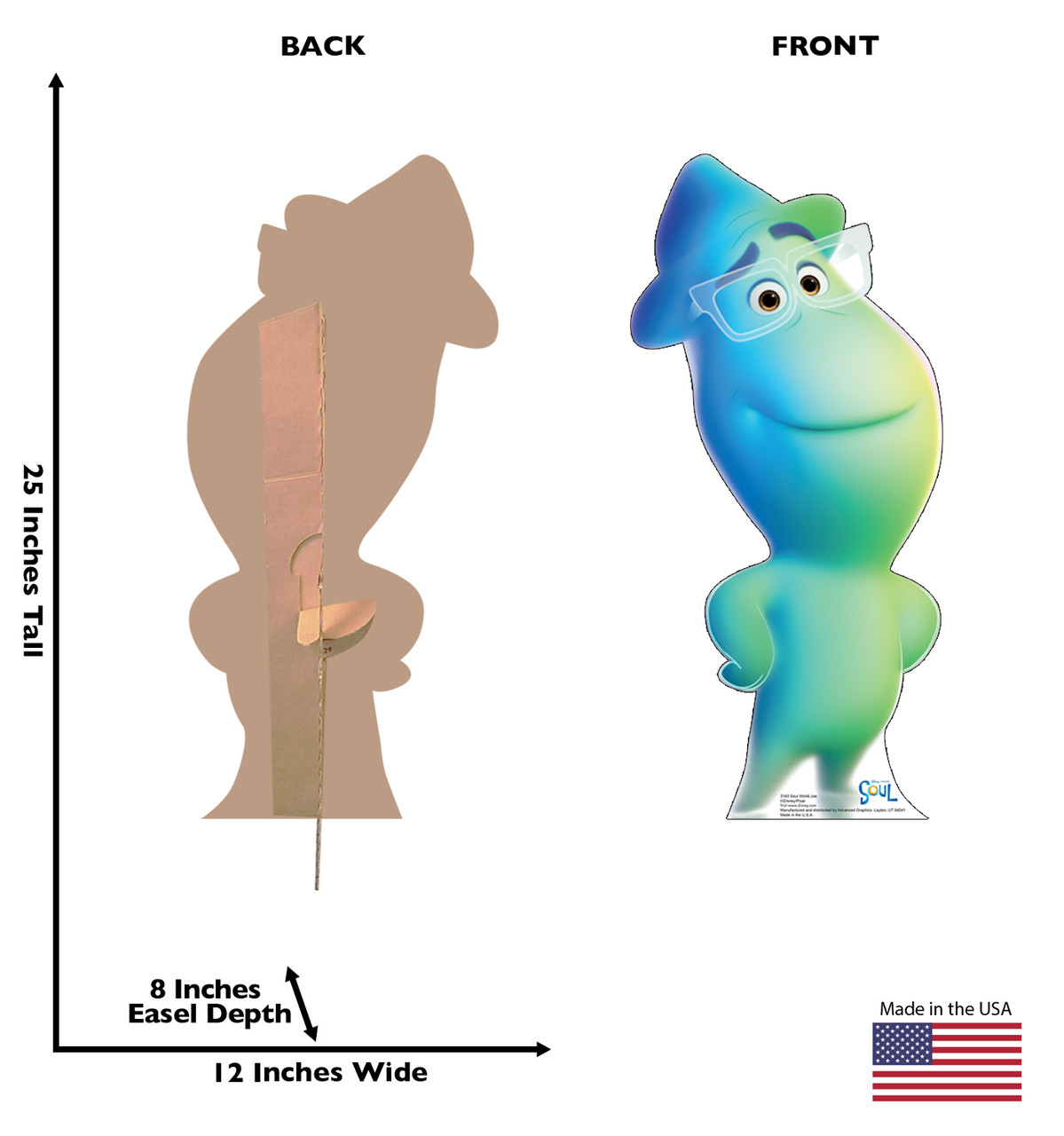Life-size cardboard standee of Soul World Joe from Disney's Movie Soul with back and front dimensions.