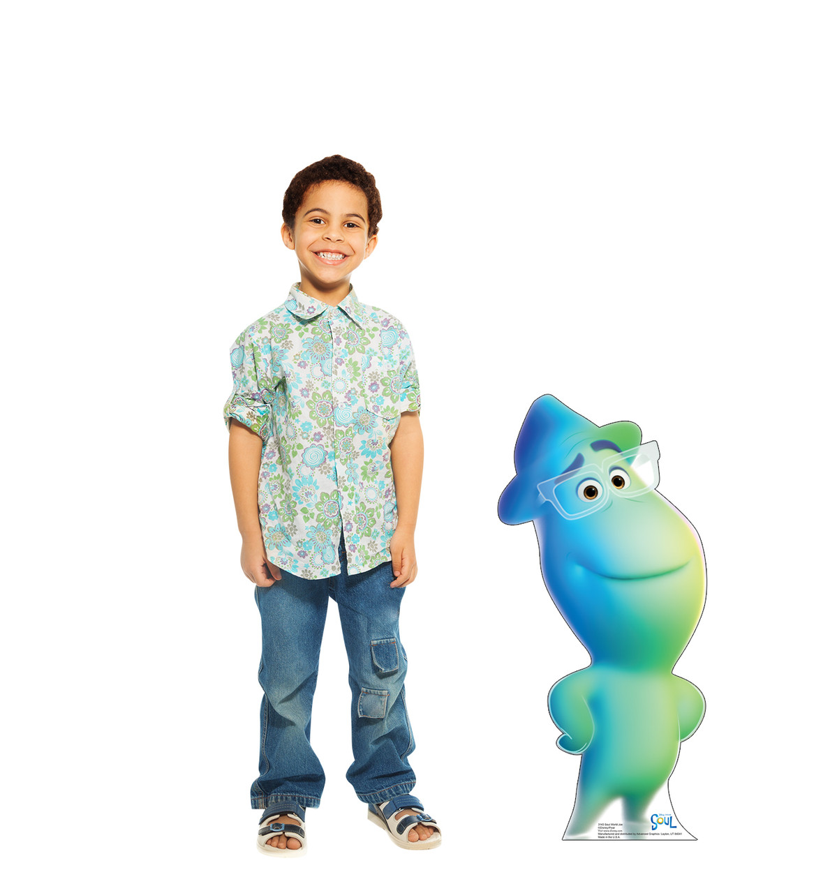 Life-size cardboard standee of Soul World Joe from Disney's Movie Soul with model.