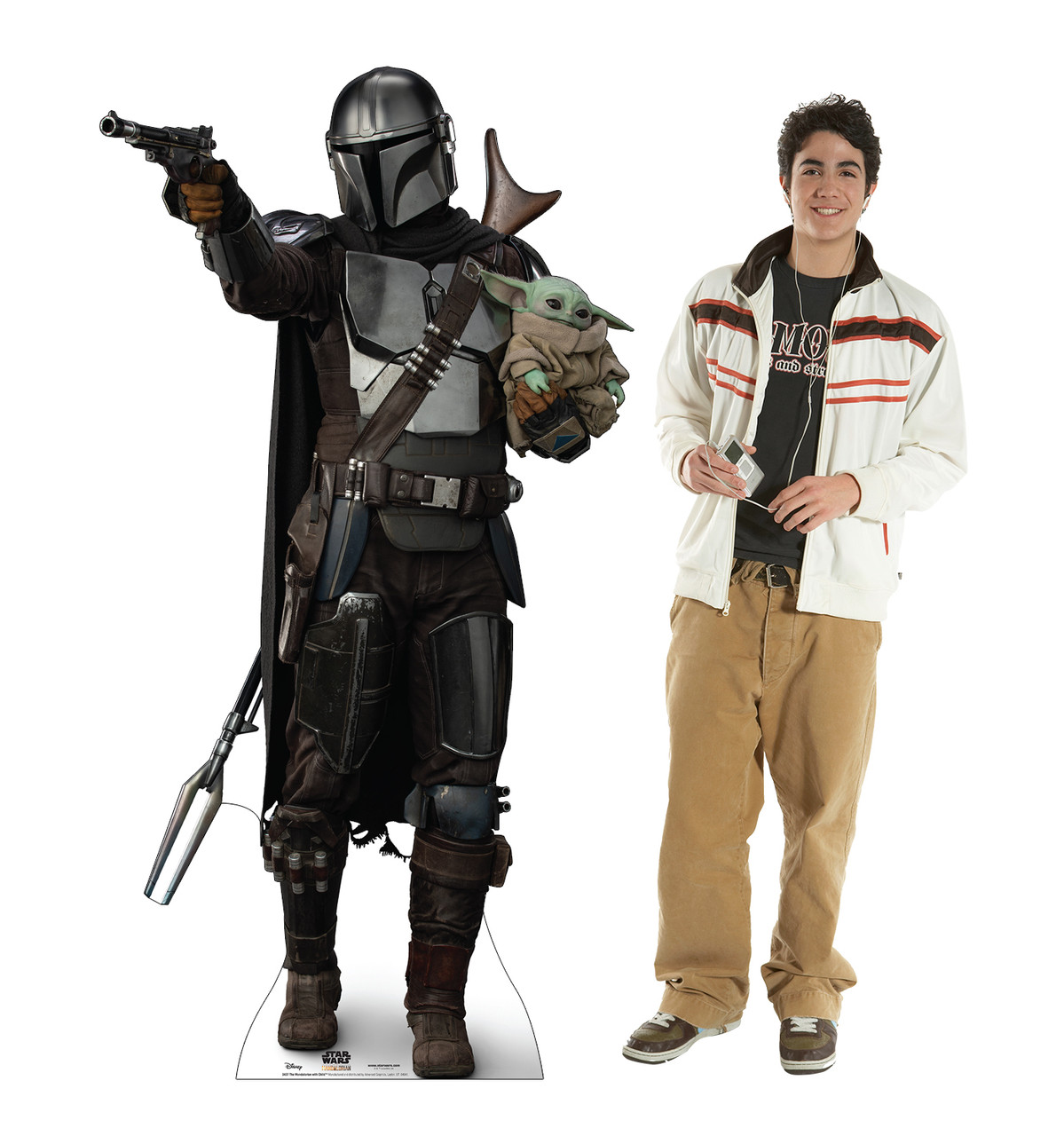 Life-size cardboard standee of The Mandalorian with Child with model.
