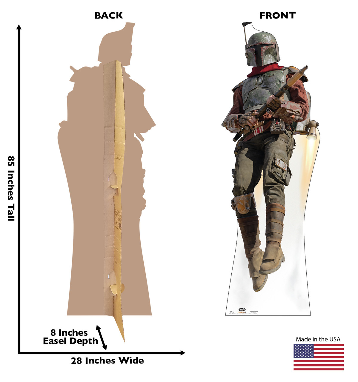 Life-size cardboard standee of The Marshal Flying with back and front dimensions.