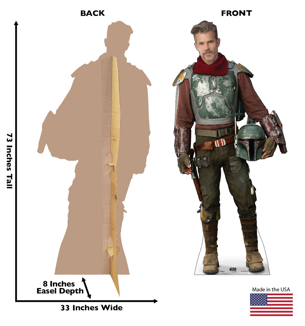 Life-size cardboard standee of The Marshal from the Mandalorian season 2 with back and front dimensions.