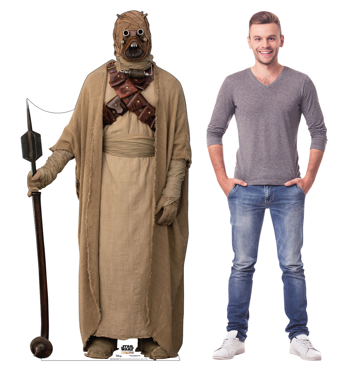 Life-size cardboard standee of a Tusken Raider from the Mandalorian season 2 with model.
