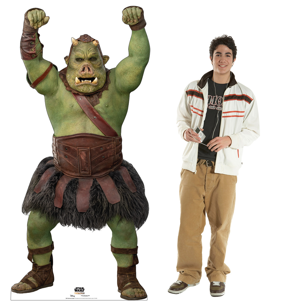 Life-size cardboard standee of a Gamorrean Fighter from the Mandalorian season 2 with model.