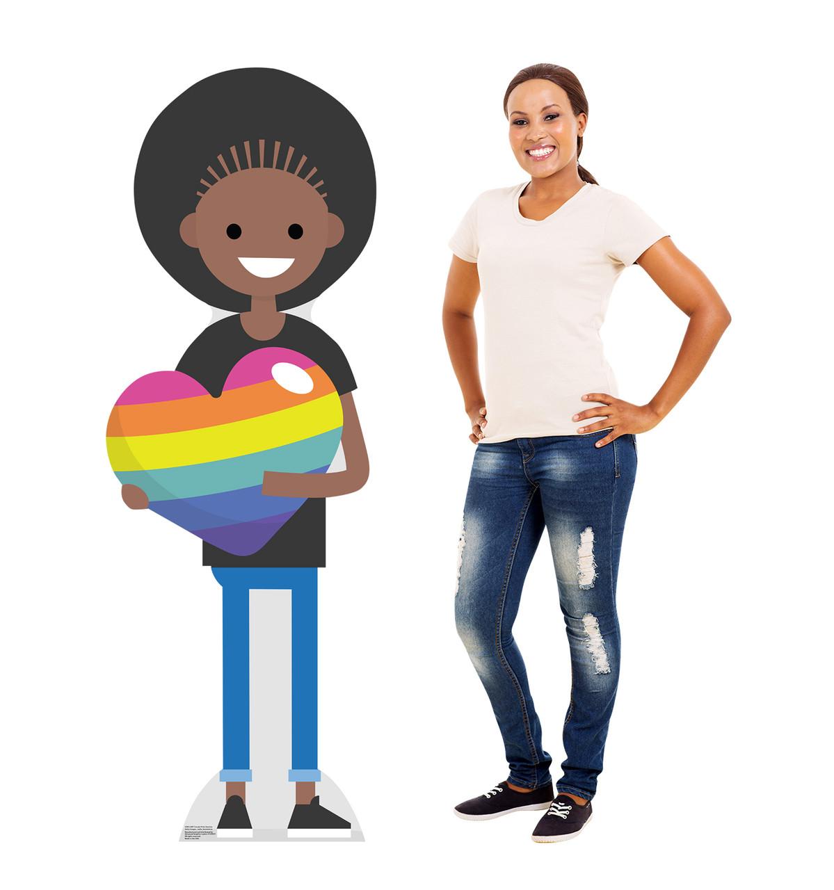 Life-size cardboard Female Cartoon Pride Standee with model.