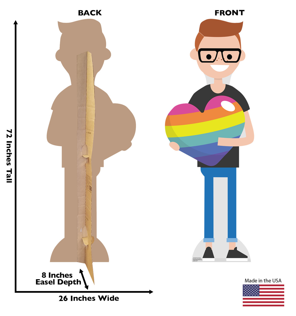 Life-size cardboard Male Cartoon Pride Standee with back and front dimensions.