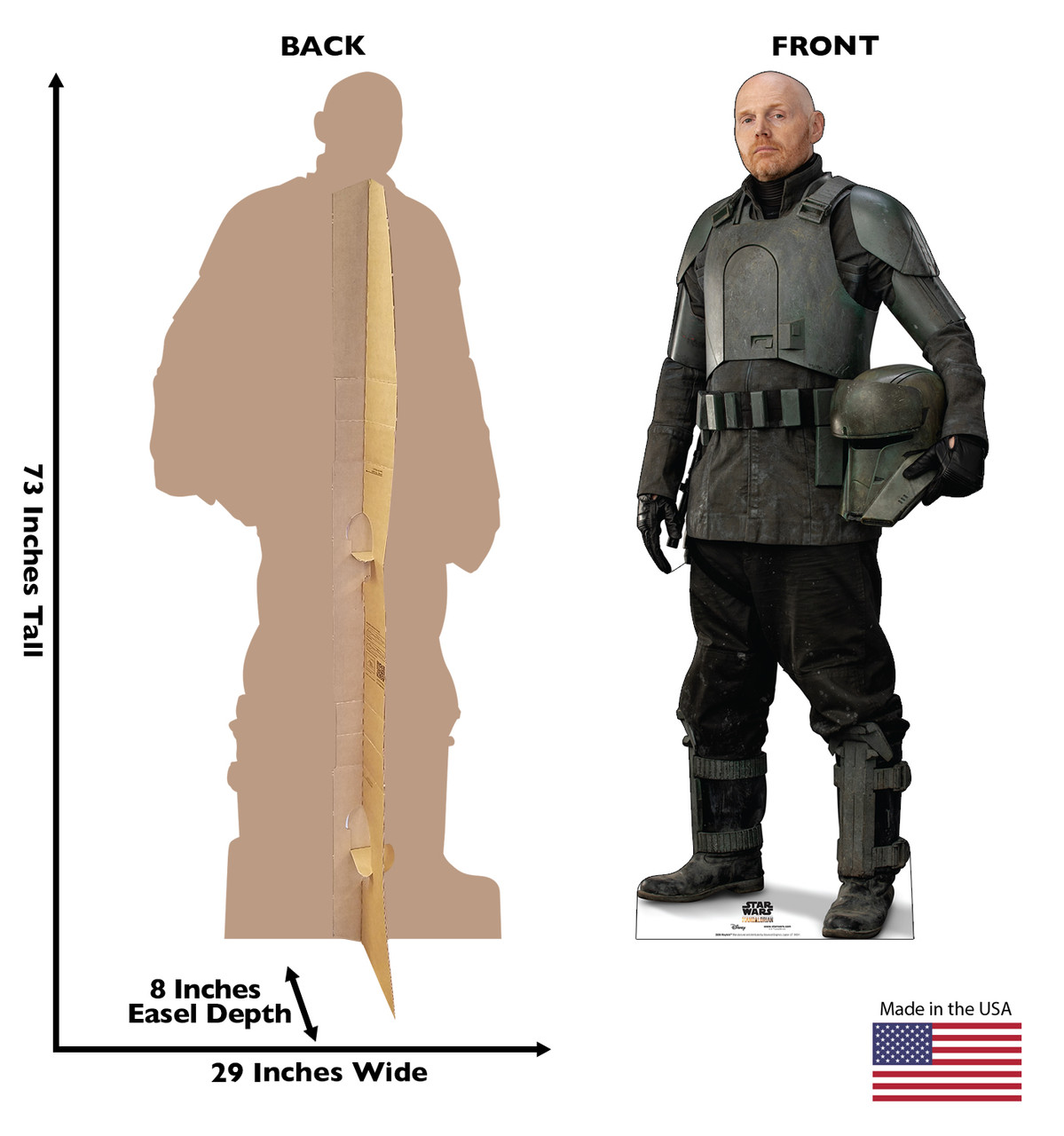 Life-size cardboard standee of Mayfeld  from the Mandalorian season 2 with back and front dimensions.