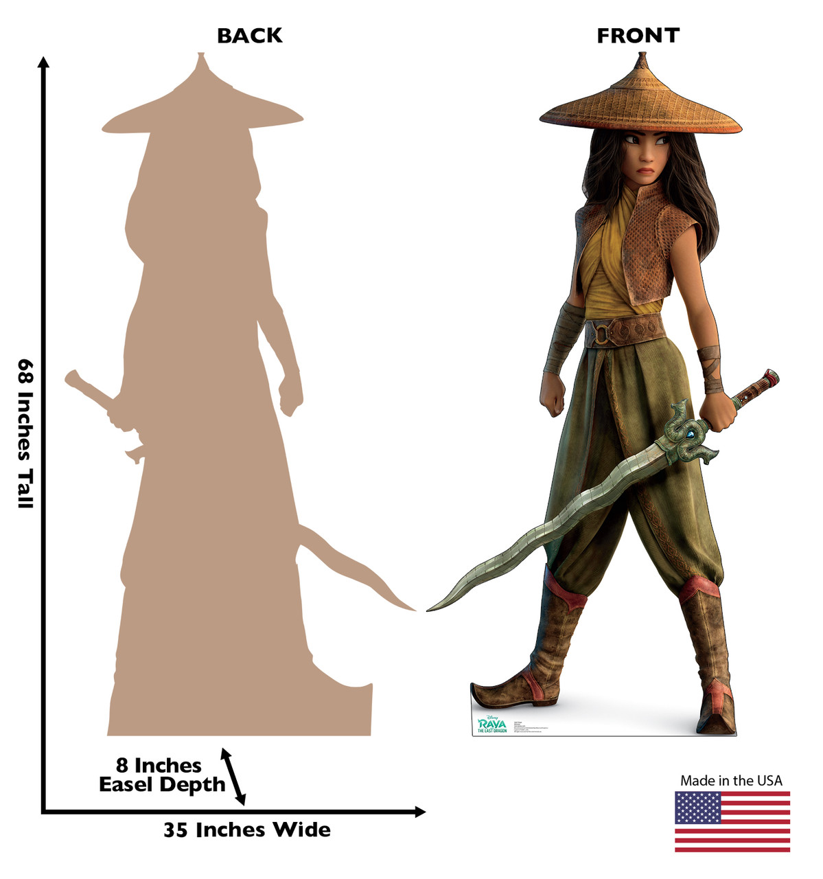 Lifes-size cardboard standee of Raya from Disney's Raya and the Last Dragon with back and front dimensions.