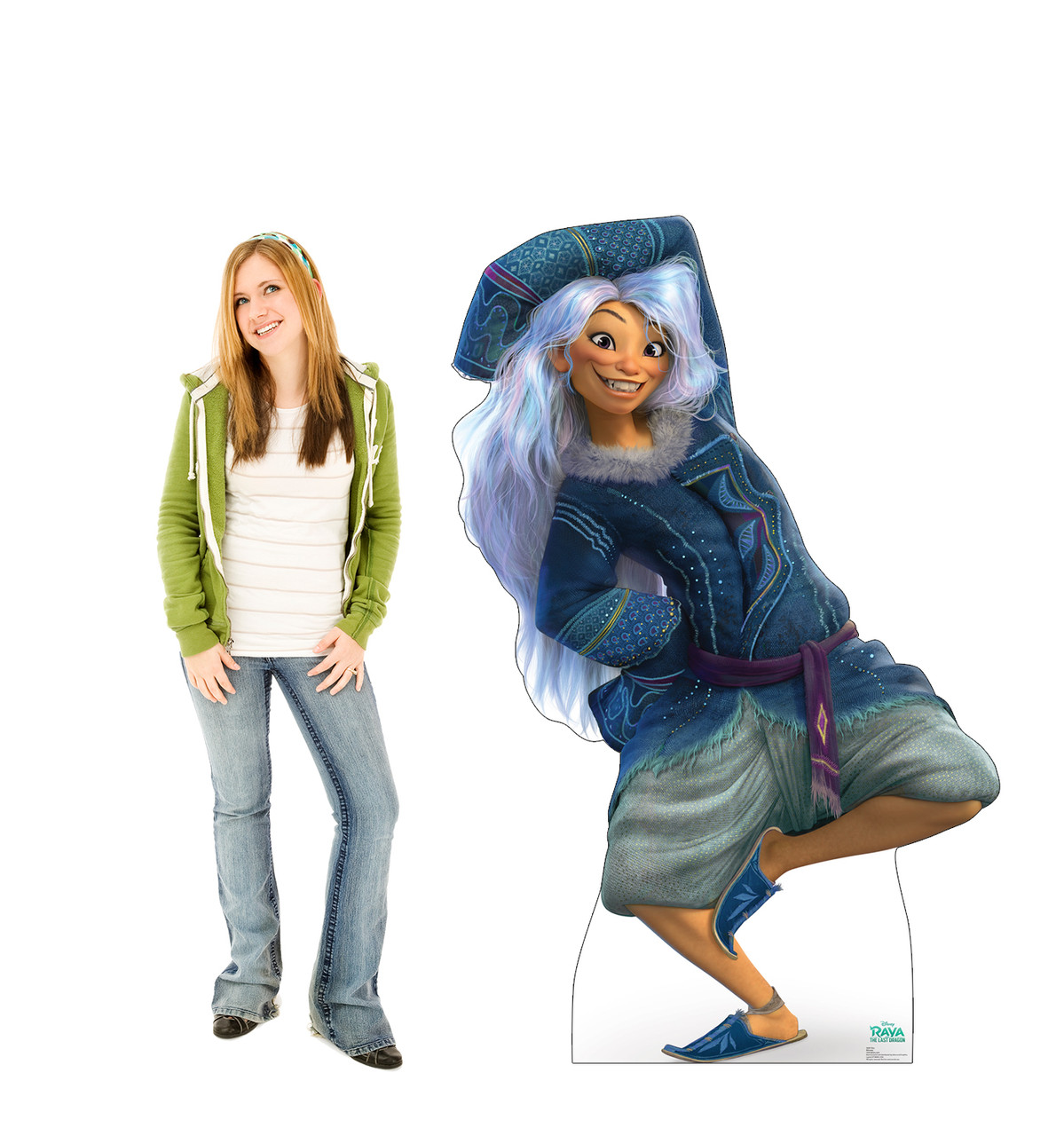 Lifes-size cardboard standee of Sisu from Disney's Raya and the Last Dragon with model.