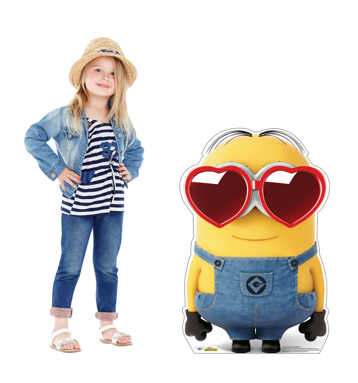Life-size cardboard standee of Bob Heart Sunglasses with model.