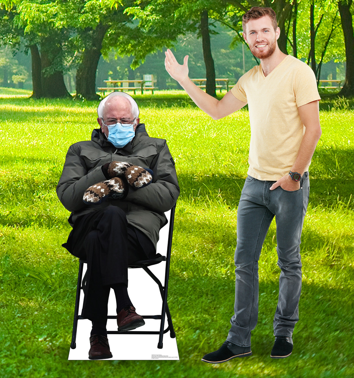 Life-size coroplast outdoor standee of Bernie Sanders meme from 2020 election with model.