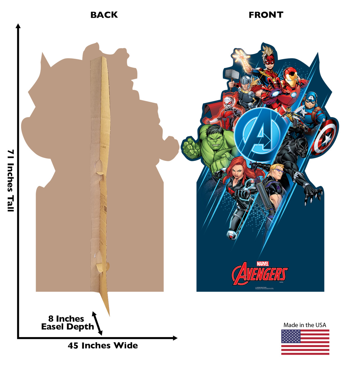 Life-size cardboard standee of the Avengers Classic Group with back and front dimensions.