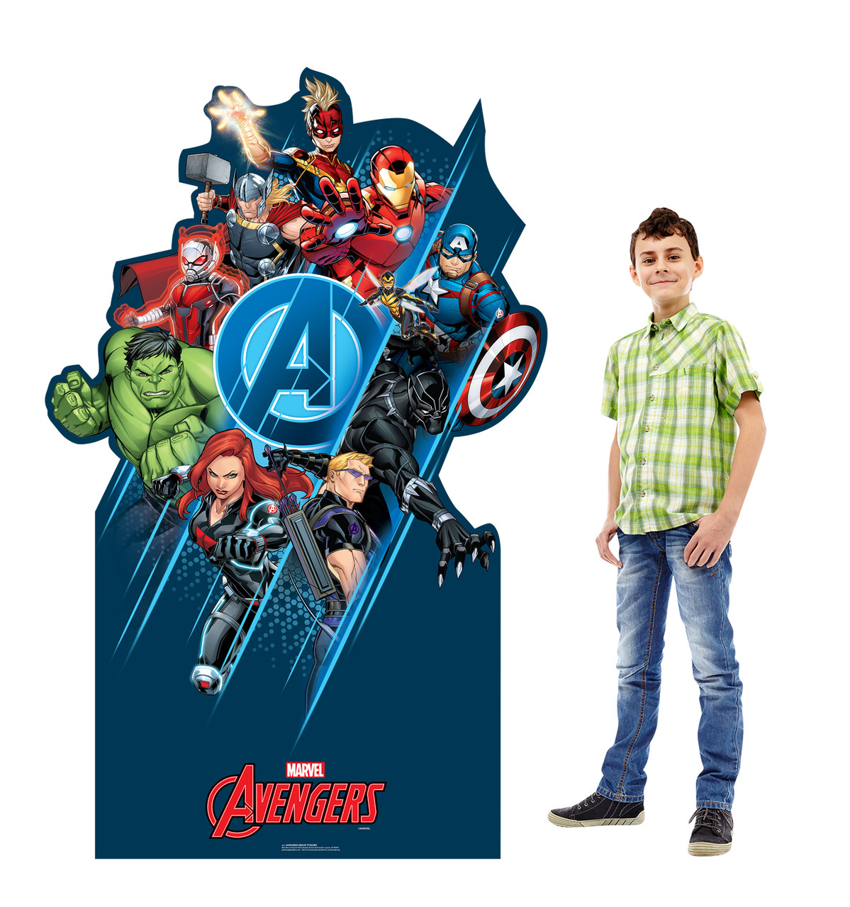 Life-size cardboard standee of the Avengers Classic Group with model.
